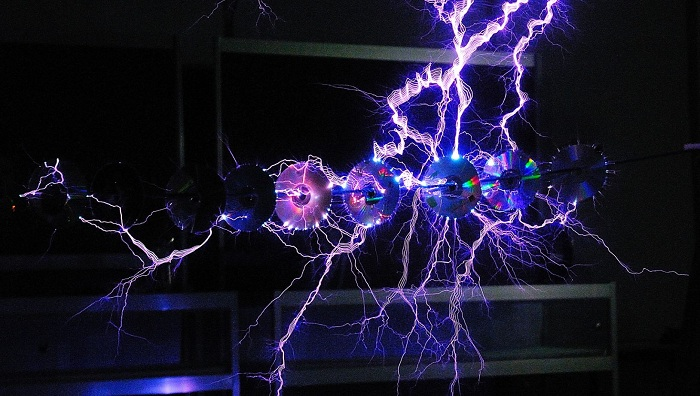 Old CDs being zapped by Tesla coil